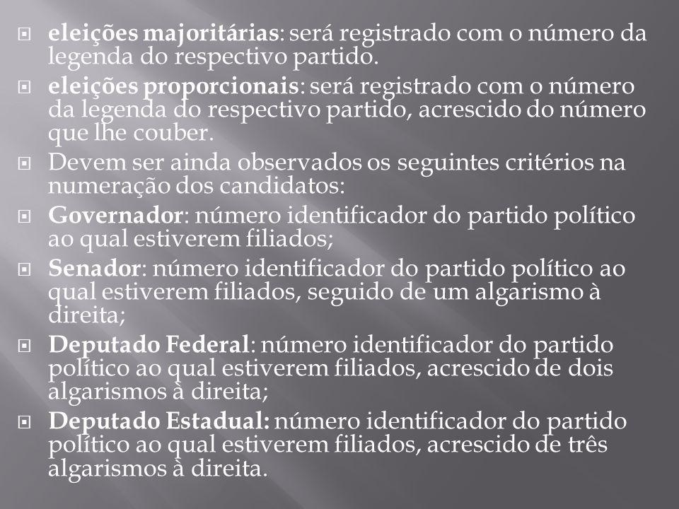 eleições majoritárias: será registrado com o número da legenda do respectivo partido.