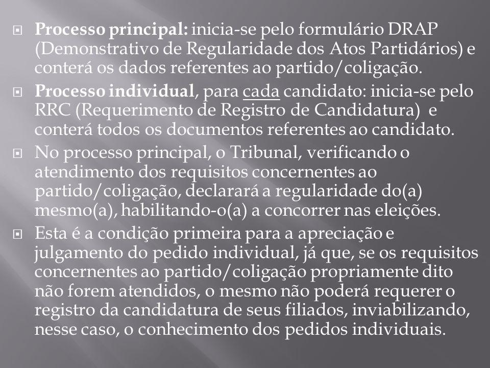 Processo principal: inicia-se pelo formulário DRAP (Demonstrativo de Regularidade dos Atos Partidários) e conterá os dados referentes ao partido/coligação.