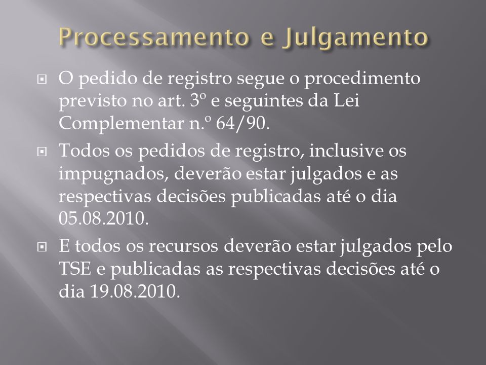 Processamento e Julgamento
