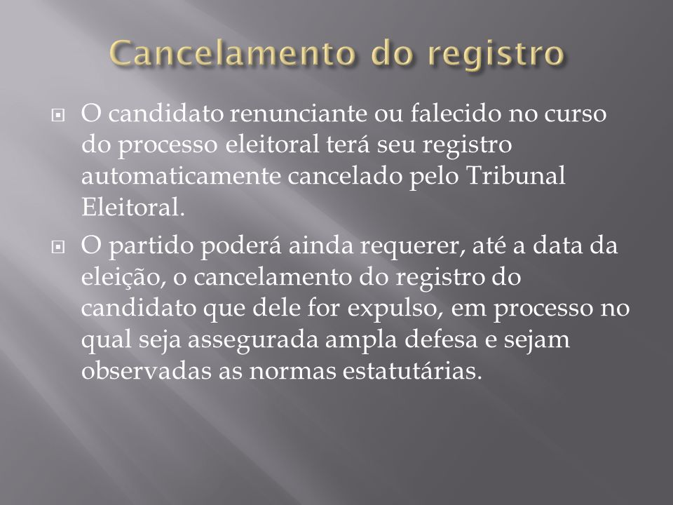 Cancelamento do registro