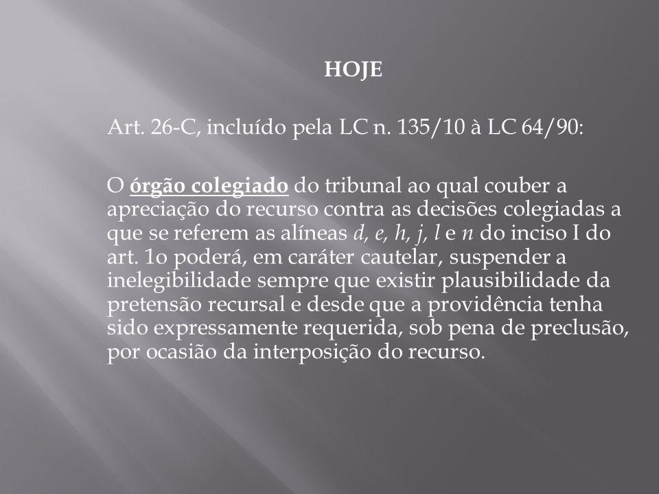 HOJE Art. 26-C, incluído pela LC n. 135/10 à LC 64/90: