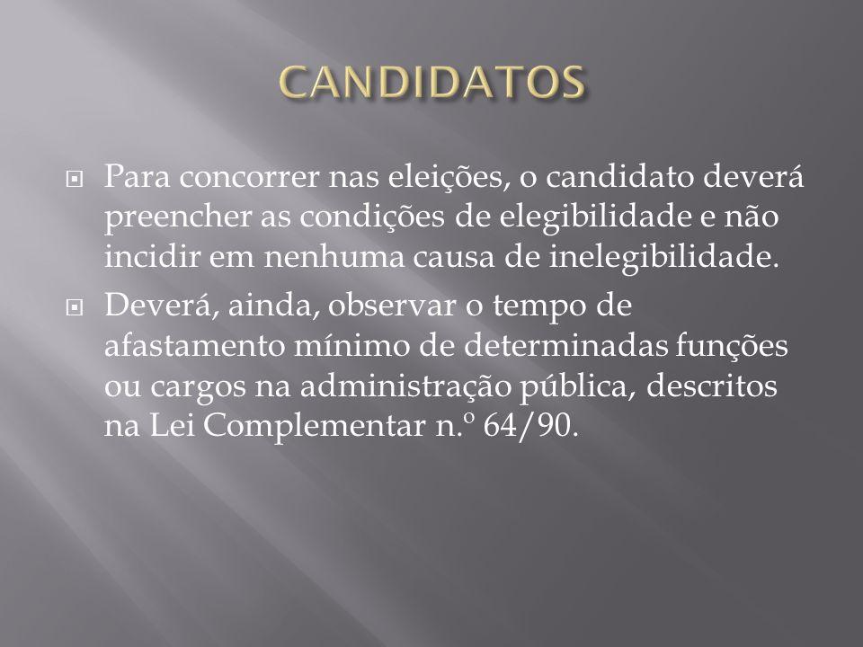 CANDIDATOS Para concorrer nas eleições, o candidato deverá preencher as condições de elegibilidade e não incidir em nenhuma causa de inelegibilidade.