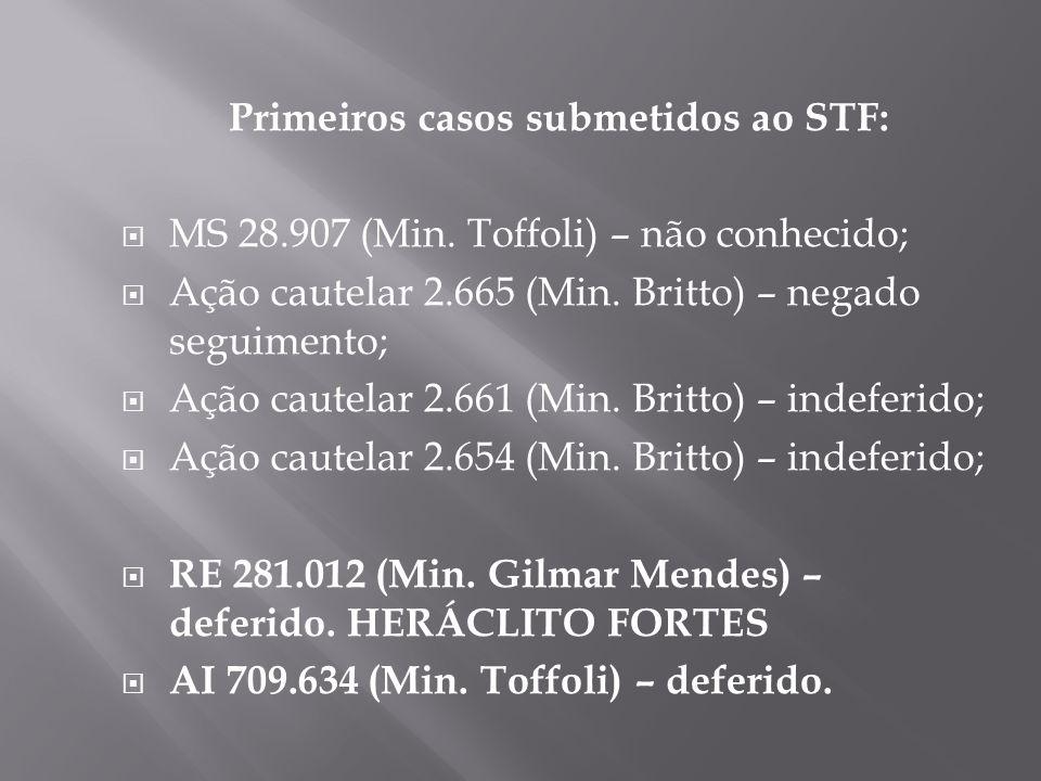 Primeiros casos submetidos ao STF: