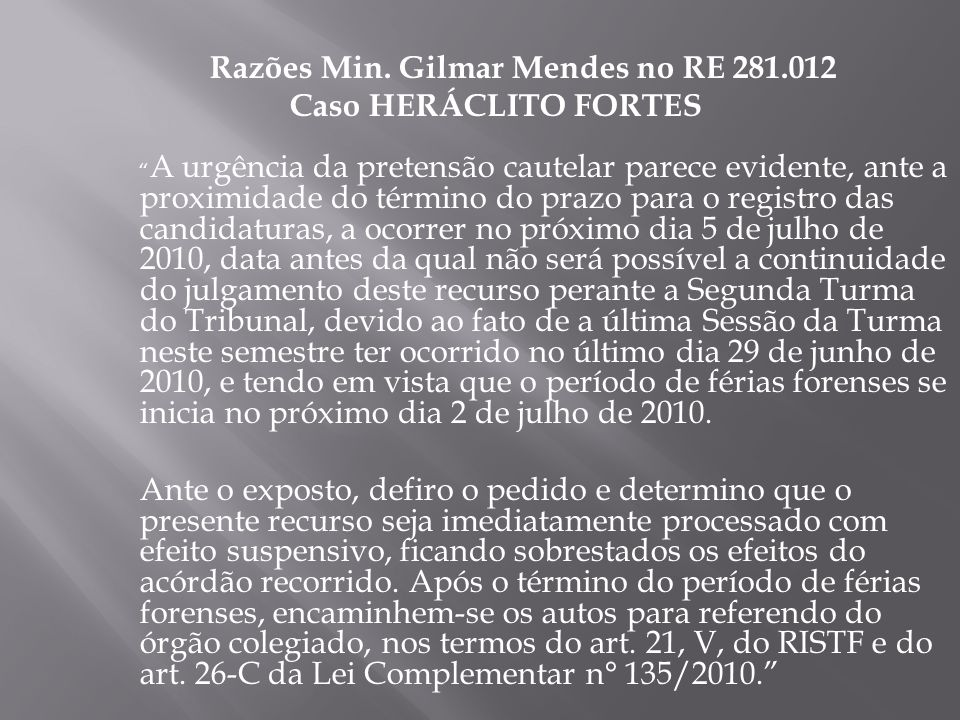 Razões Min. Gilmar Mendes no RE 281.012