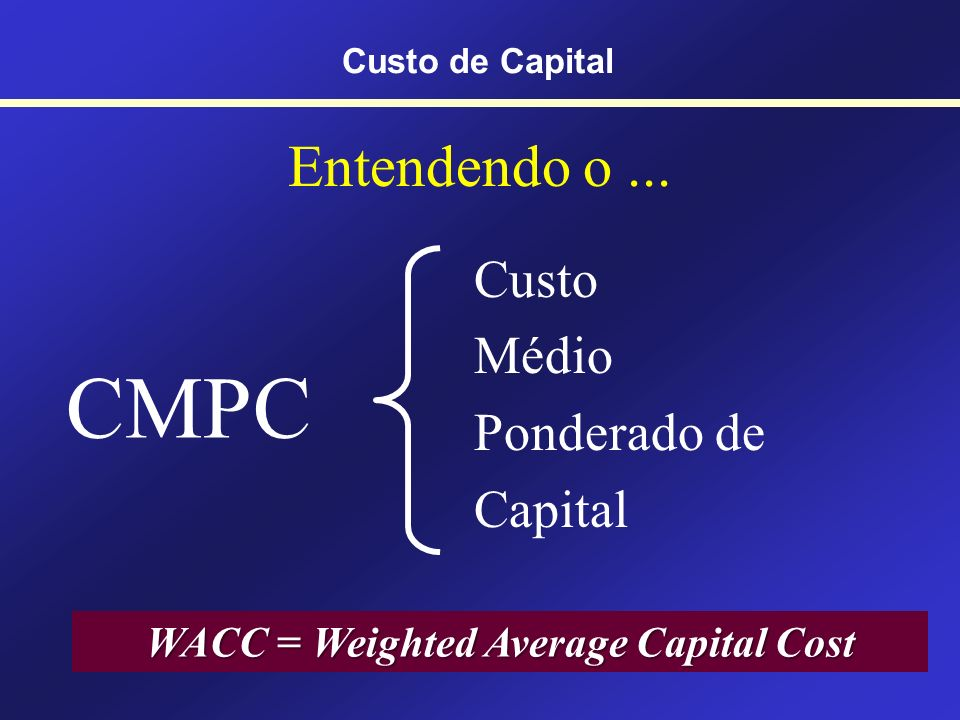 WACC = Weighted Average Capital Cost