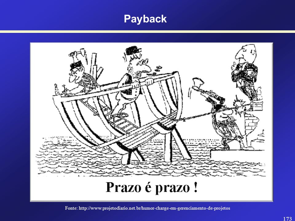 Payback Fonte: http://www.projetodiario.net.br/humor-charge-em-gerenciamento-de-projetos