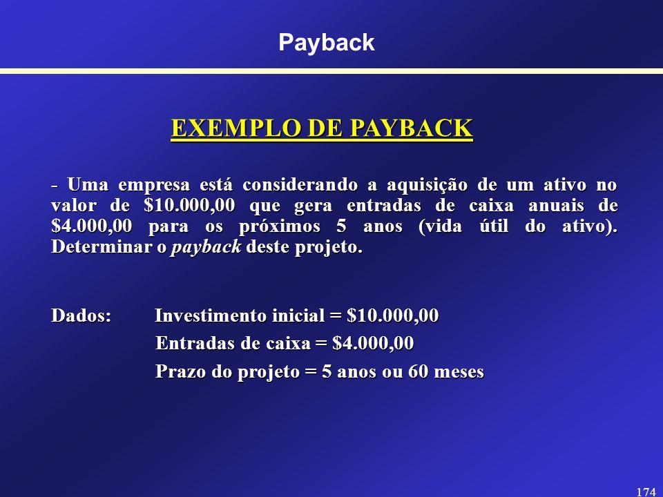 EXEMPLO DE PAYBACK Payback