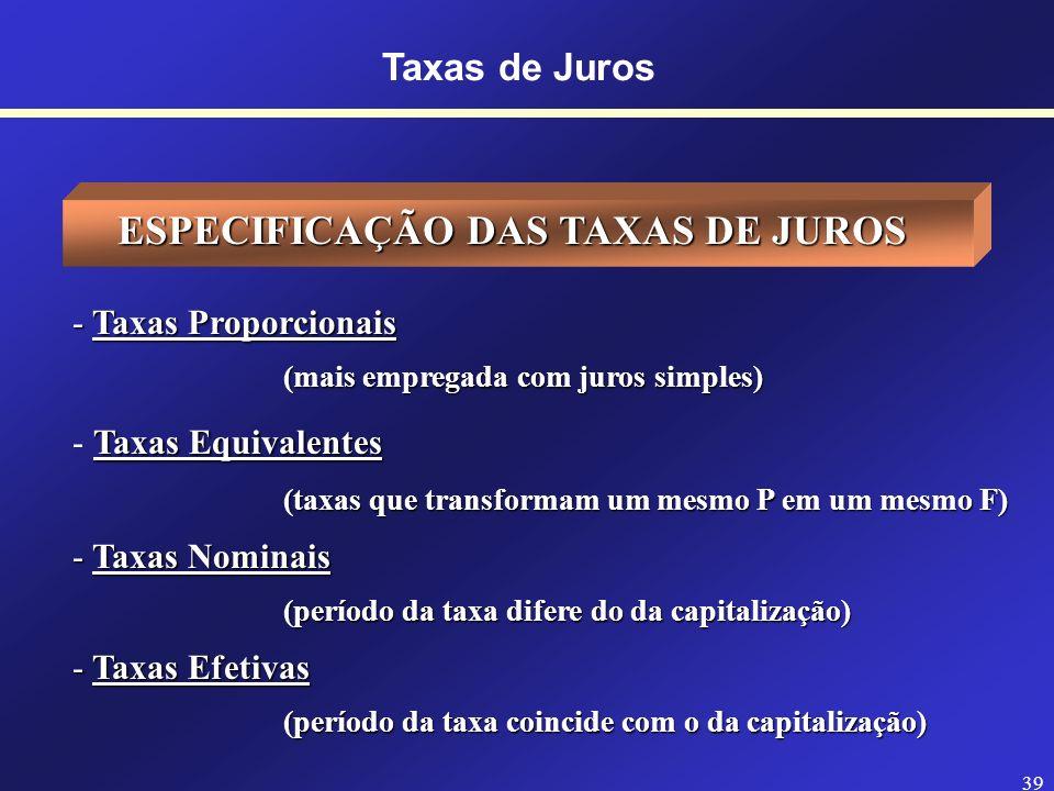 ESPECIFICAÇÃO DAS TAXAS DE JUROS