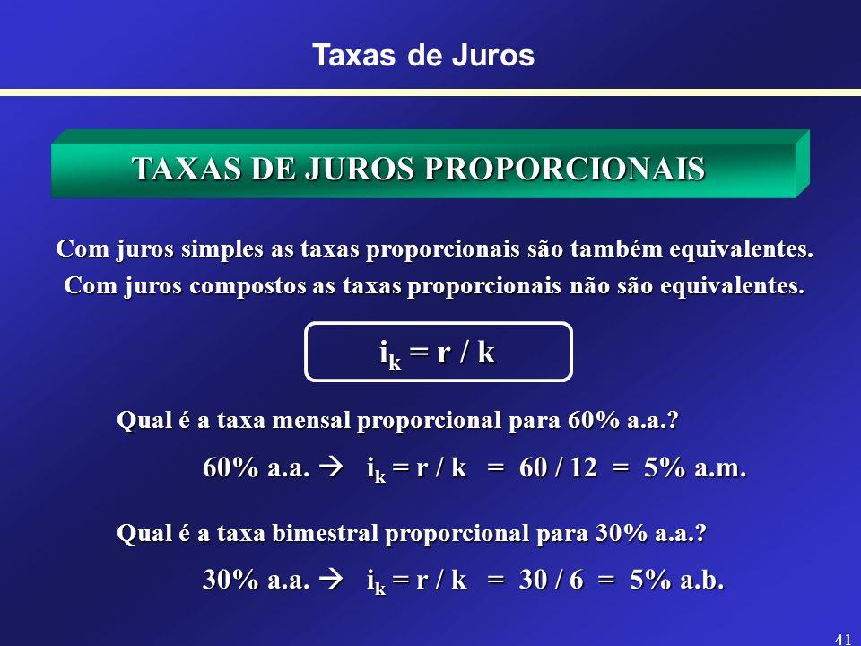 TAXAS DE JUROS PROPORCIONAIS