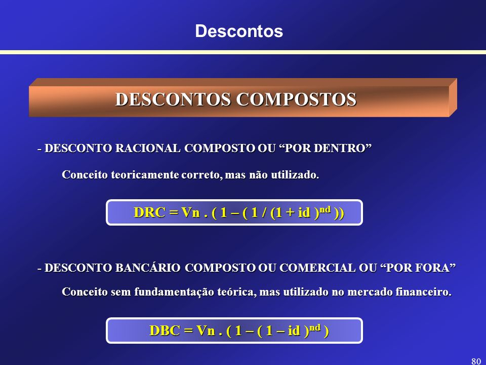 DESCONTOS COMPOSTOS Descontos