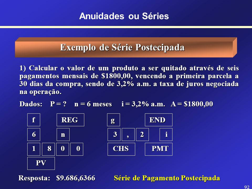 Exemplo de Série Postecipada