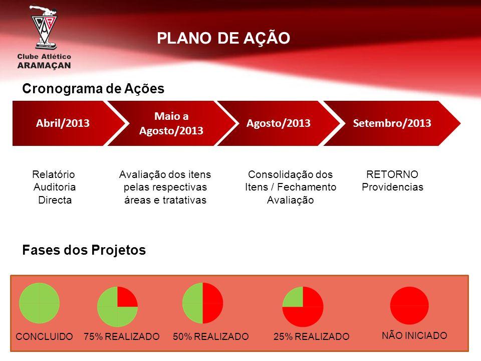 PLANO DE AÇÃO Cronograma de Ações Fases dos Projetos Abril/2013