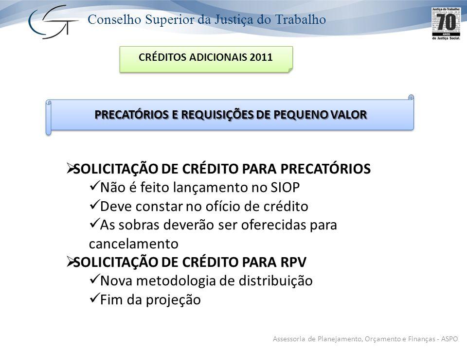 PRECATÓRIOS E REQUISIÇÕES DE PEQUENO VALOR