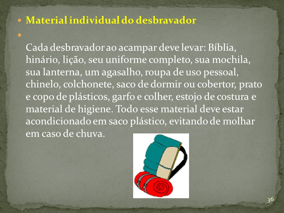 Material individual do desbravador