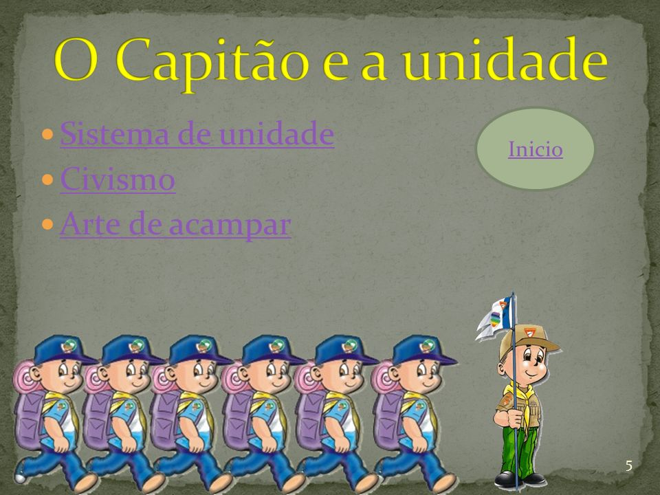 O Capitão e a unidade Sistema de unidade Civismo Arte de acampar