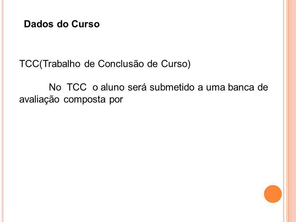 Dados do Curso TCC(Trabalho de Conclusão de Curso) No TCC o aluno será submetido a uma banca de avaliação composta por.