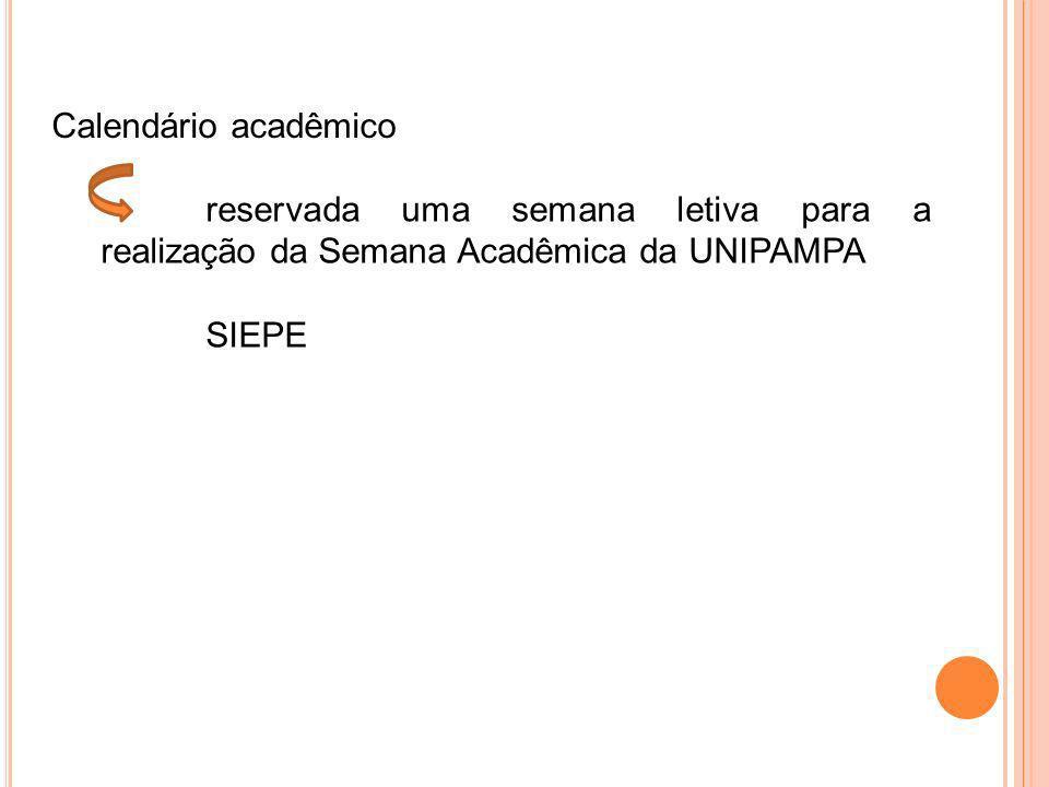 Calendário acadêmico reservada uma semana letiva para a realização da Semana Acadêmica da UNIPAMPA.