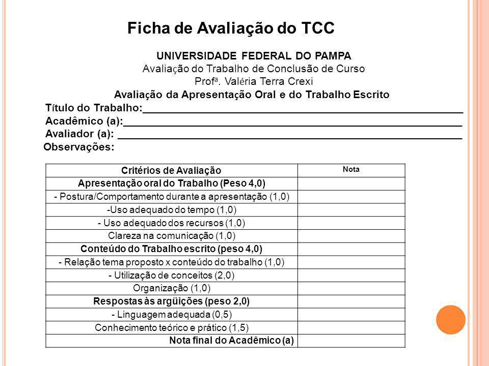 Ficha de Avaliação do TCC