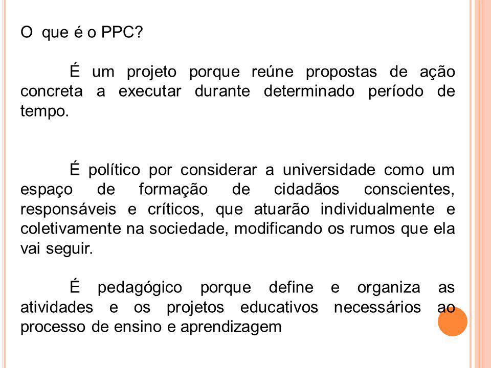 O que é o PPC É um projeto porque reúne propostas de ação concreta a executar durante determinado período de tempo.