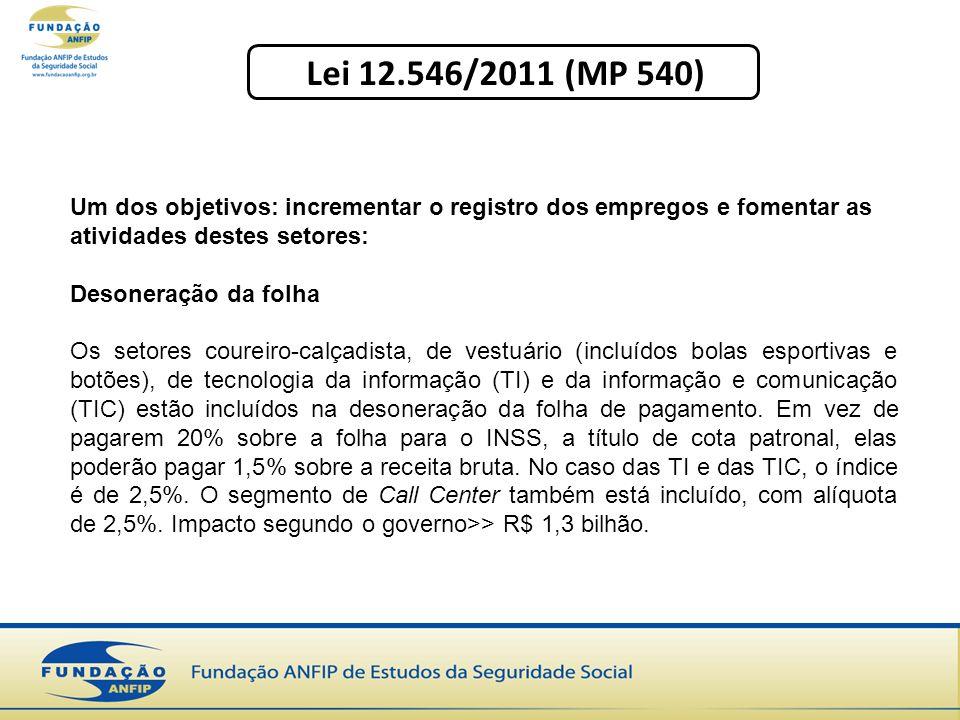 Lei 12.546/2011 (MP 540) Um dos objetivos: incrementar o registro dos empregos e fomentar as atividades destes setores: