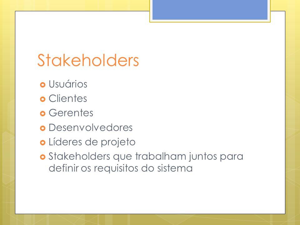 Stakeholders Usuários Clientes Gerentes Desenvolvedores