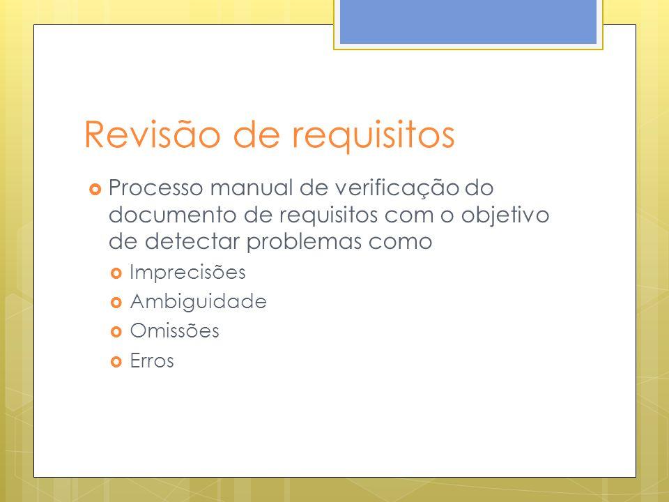 Revisão de requisitos Processo manual de verificação do documento de requisitos com o objetivo de detectar problemas como.
