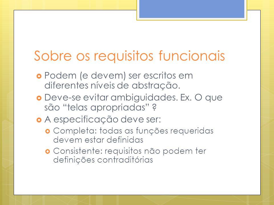 Sobre os requisitos funcionais