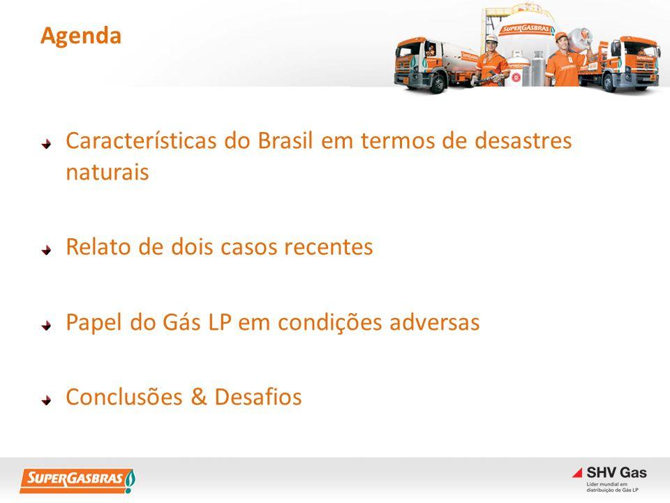 Agenda Características do Brasil em termos de desastres naturais. Relato de dois casos recentes. Papel do Gás LP em condições adversas.