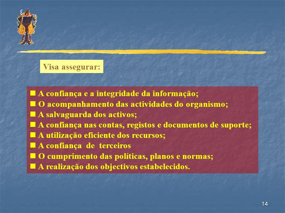 Visa assegurar: A confiança e a integridade da informação; O acompanhamento das actividades do organismo;