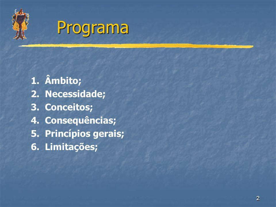 Programa 1. Âmbito; 2. Necessidade; 3. Conceitos; 4. Consequências;