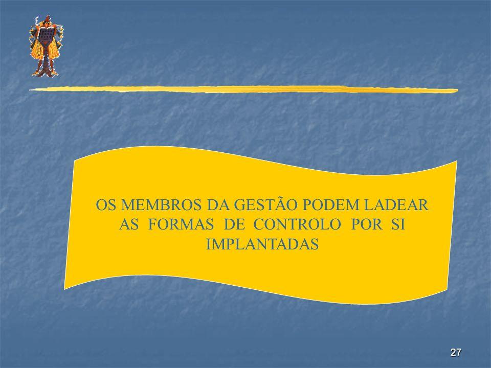 OS MEMBROS DA GESTÃO PODEM LADEAR AS FORMAS DE CONTROLO POR SI IMPLANTADAS