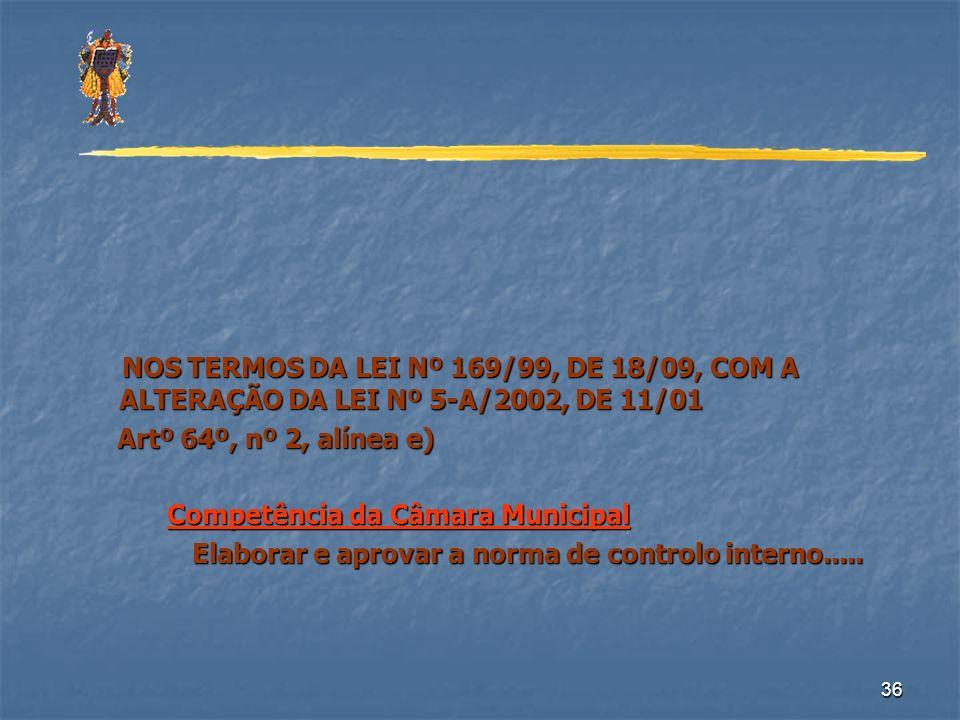 NOS TERMOS DA LEI Nº 169/99, DE 18/09, COM A ALTERAÇÃO DA LEI Nº 5-A/2002, DE 11/01