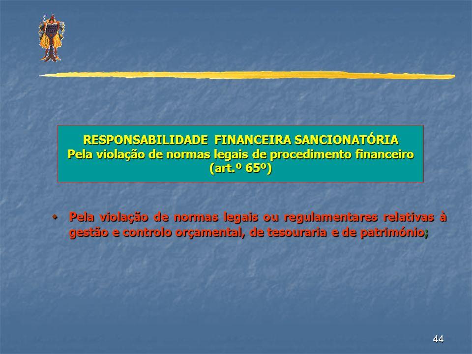 RESPONSABILIDADE FINANCEIRA SANCIONATÓRIA Pela violação de normas legais de procedimento financeiro (art.º 65º)