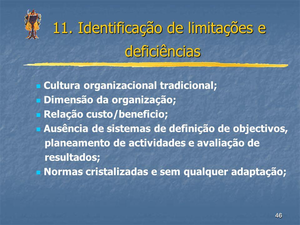 11. Identificação de limitações e deficiências