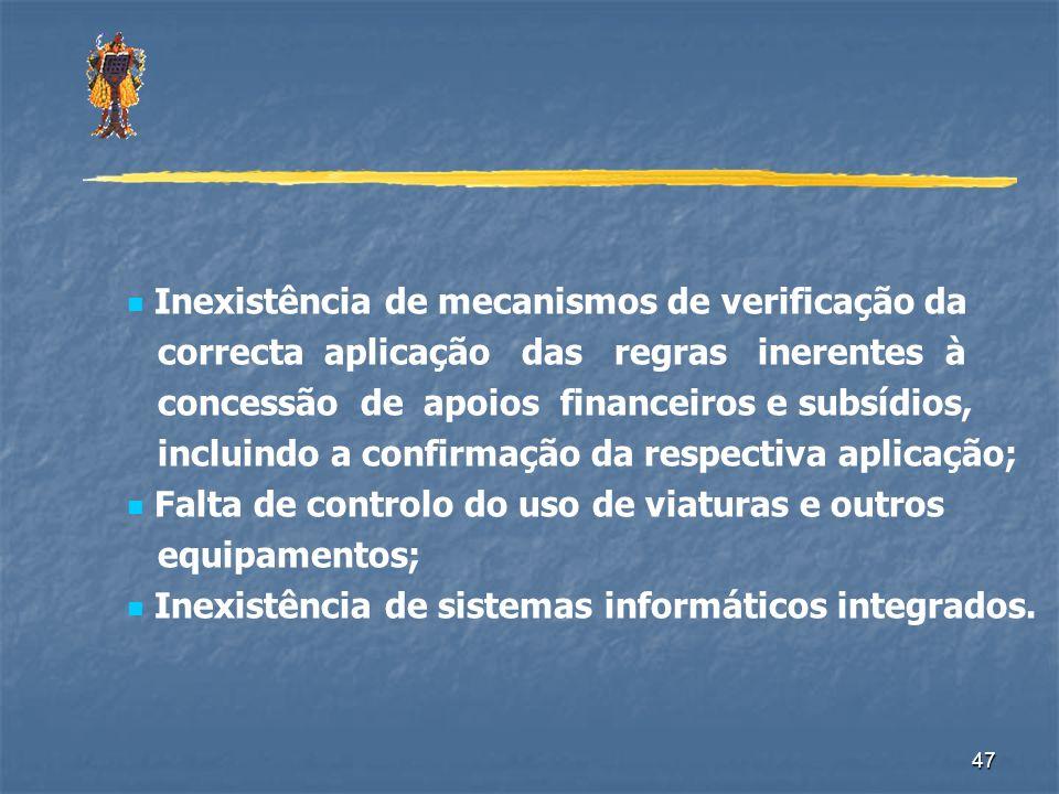 Inexistência de mecanismos de verificação da