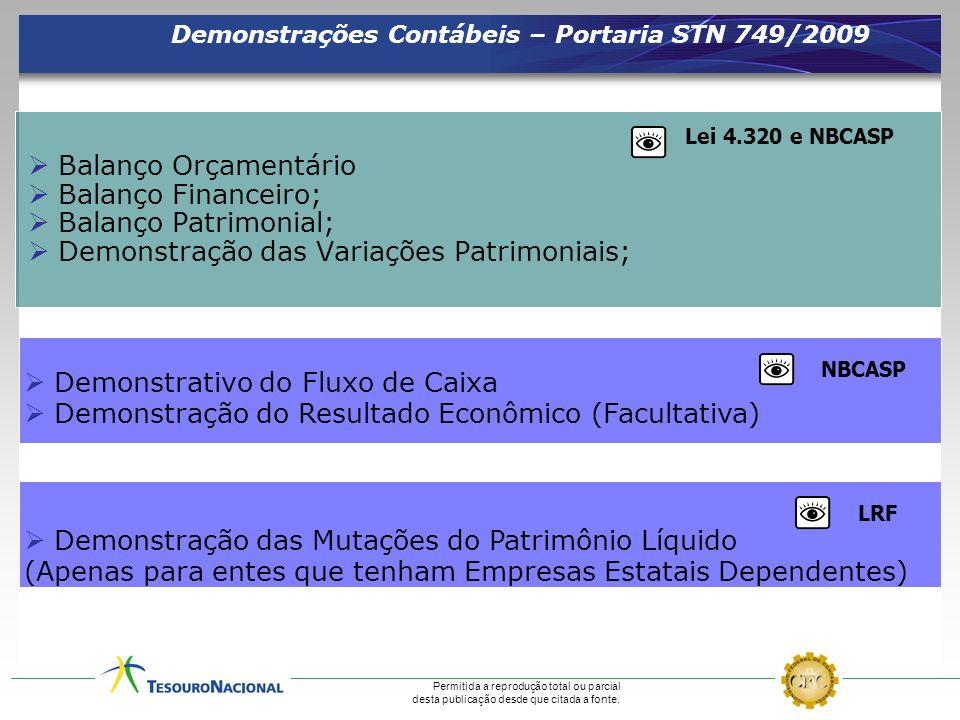 Demonstrações Contábeis – Portaria STN 749/2009