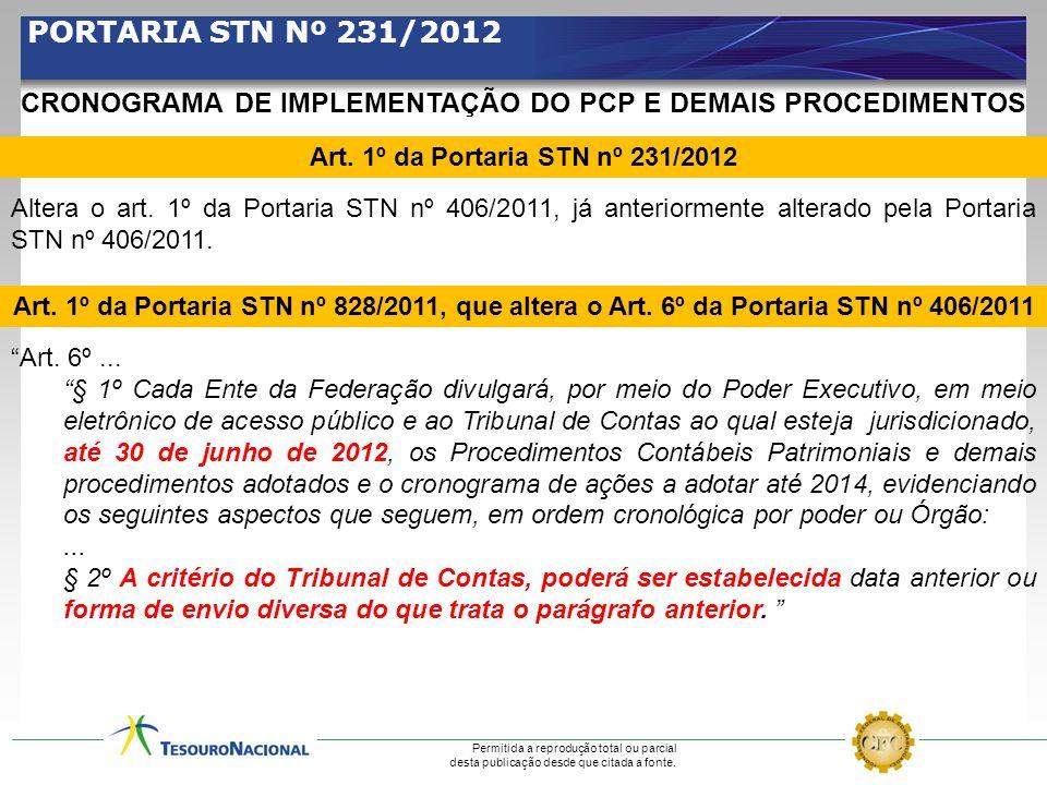 PORTARIA STN Nº 231/2012 CRONOGRAMA DE IMPLEMENTAÇÃO DO PCP E DEMAIS PROCEDIMENTOS. Art. 1º da Portaria STN nº 231/2012.