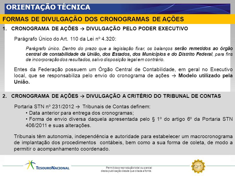 ORIENTAÇÃO TÉCNICA FORMAS DE DIVULGAÇÃO DOS CRONOGRAMAS DE AÇÕES