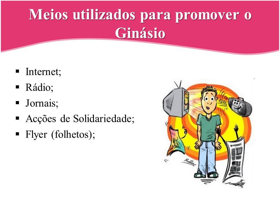 Meios utilizados para promover o Ginásio