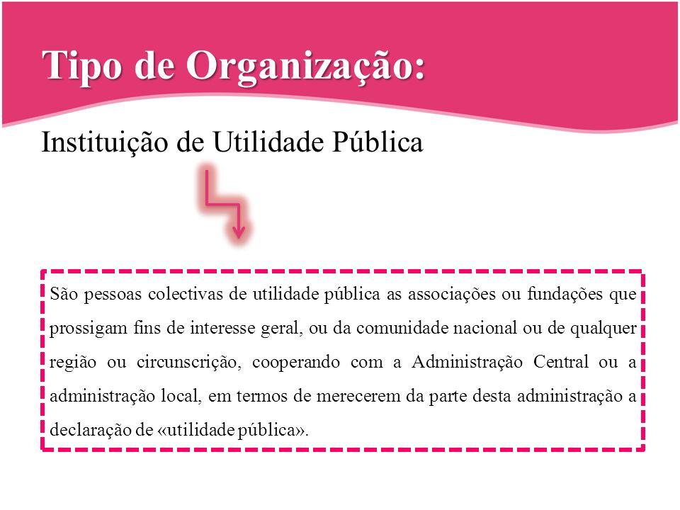 Tipo de Organização: Instituição de Utilidade Pública