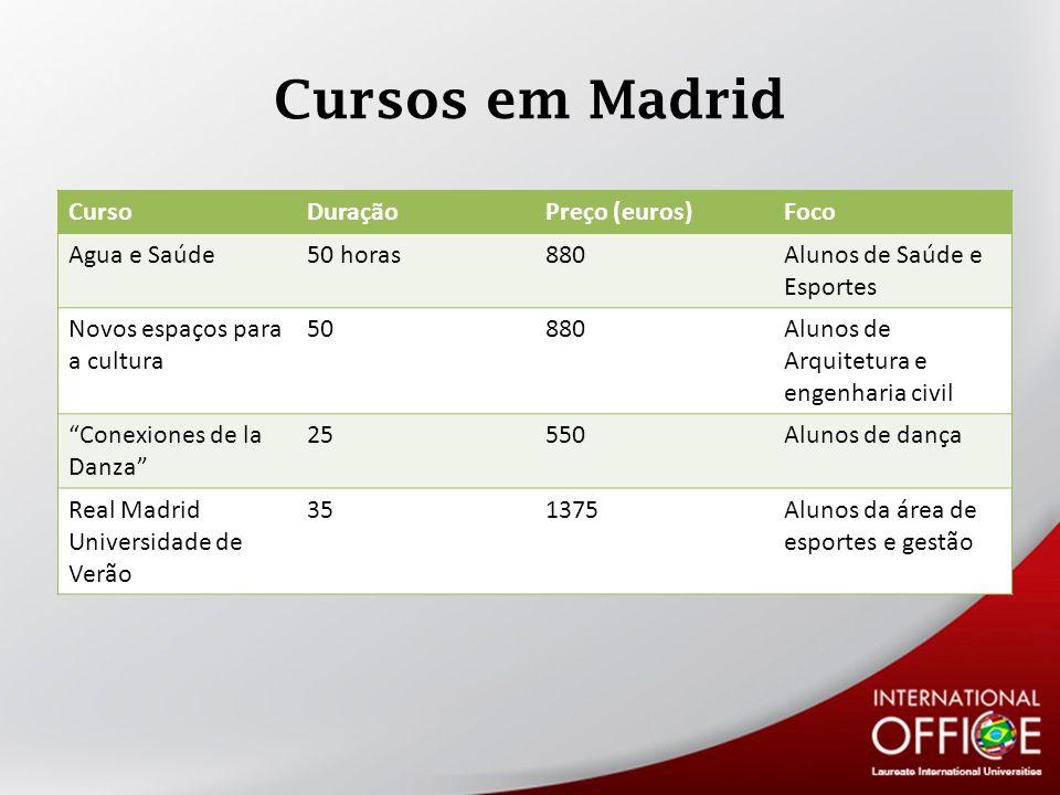 Cursos em Madrid Curso Duração Preço (euros) Foco Agua e Saúde