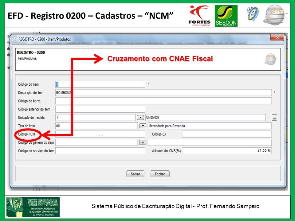 EFD - Registro 0200 – Cadastros – NCM