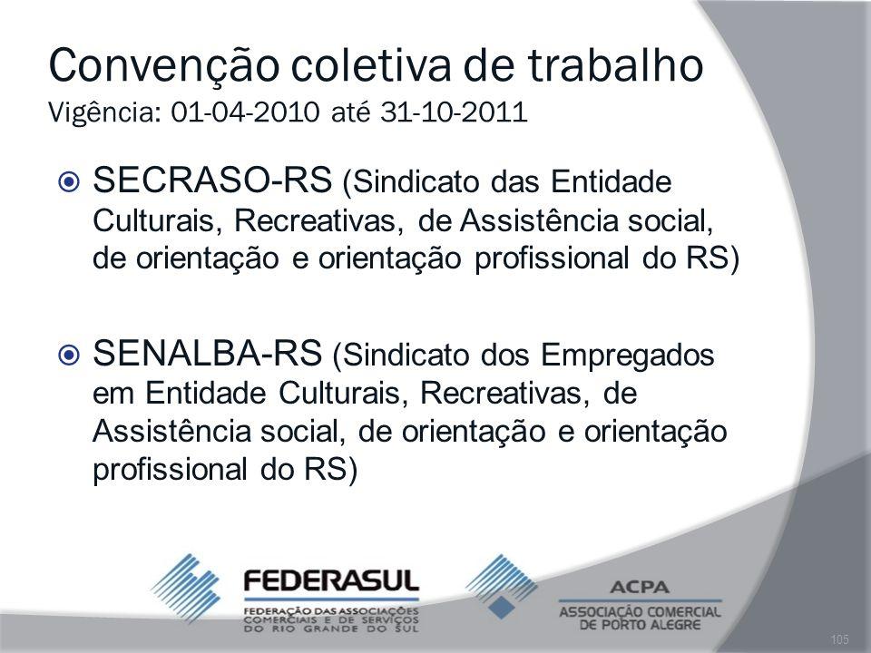 Convenção coletiva de trabalho Vigência: 01-04-2010 até 31-10-2011