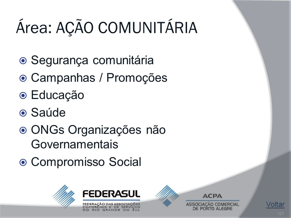 Área: AÇÃO COMUNITÁRIA