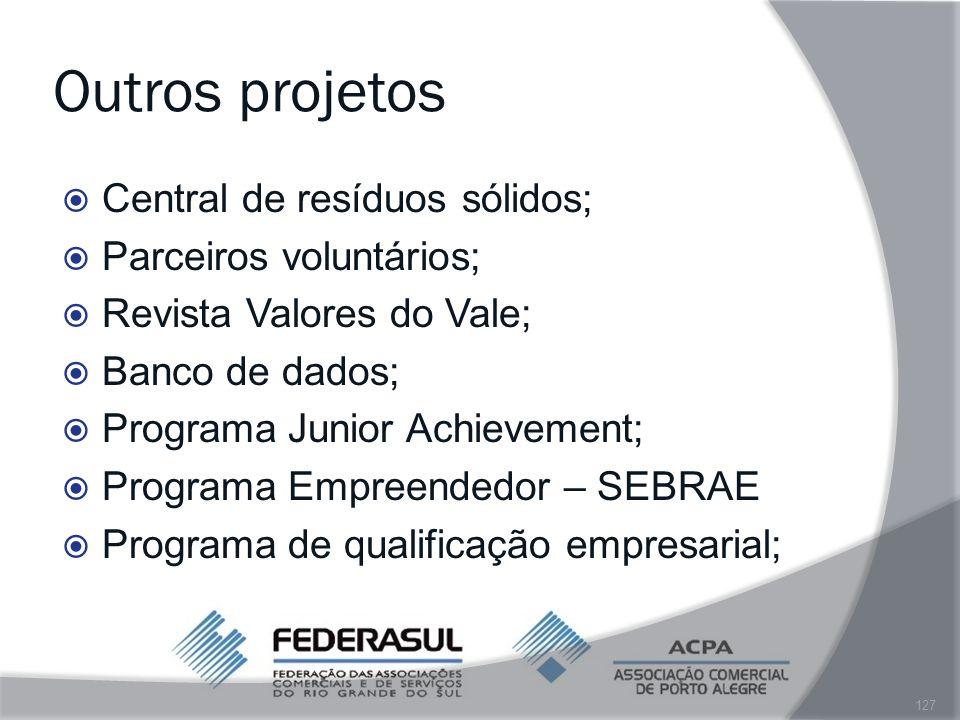 Outros projetos Central de resíduos sólidos; Parceiros voluntários;