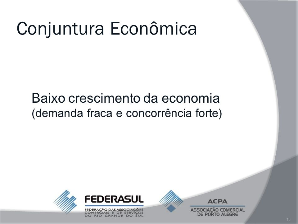Conjuntura Econômica Baixo crescimento da economia (demanda fraca e concorrência forte)