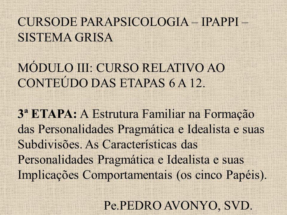 CURSODE PARAPSICOLOGIA – IPAPPI – SISTEMA GRISA MÓDULO III: CURSO RELATIVO AO CONTEÚDO DAS ETAPAS 6 A 12.