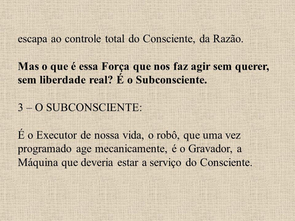 escapa ao controle total do Consciente, da Razão