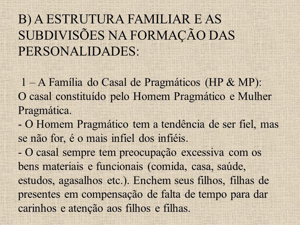 B) A ESTRUTURA FAMILIAR E AS SUBDIVISÕES NA FORMAÇÃO DAS PERSONALIDADES: 1 – A Família do Casal de Pragmáticos (HP & MP): O casal constituído pelo Homem Pragmático e Mulher Pragmática.