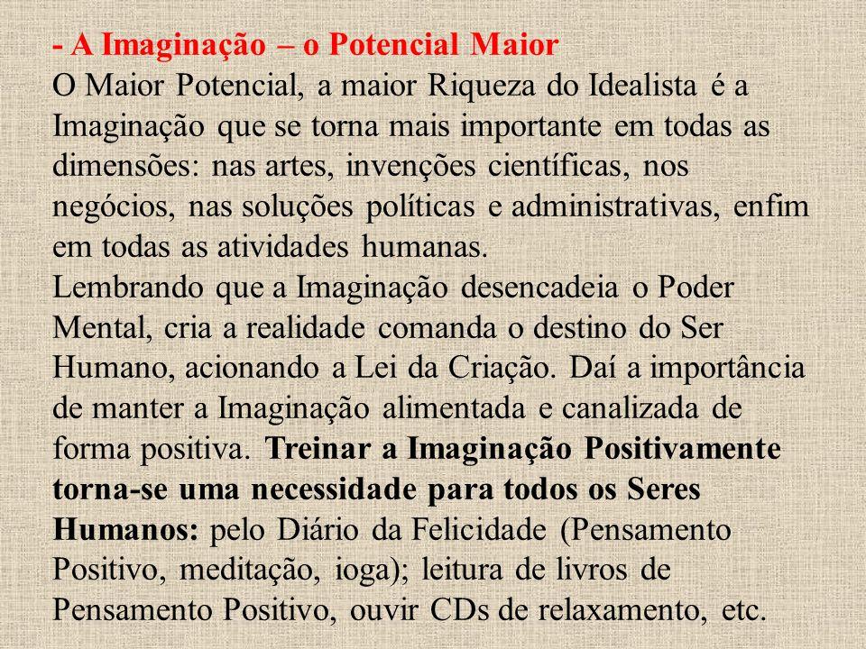 - A Imaginação – o Potencial Maior O Maior Potencial, a maior Riqueza do Idealista é a Imaginação que se torna mais importante em todas as dimensões: nas artes, invenções científicas, nos negócios, nas soluções políticas e administrativas, enfim em todas as atividades humanas.